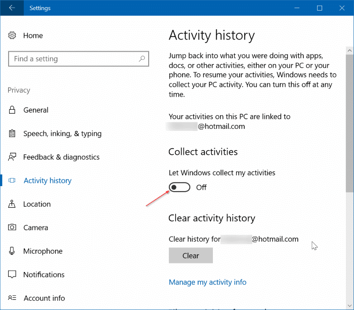 View and clear activity history in Windows (01)