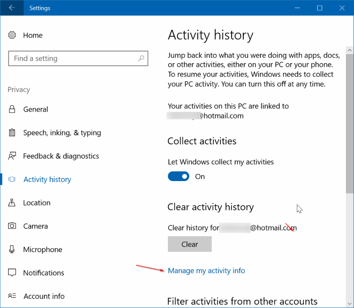 how to clear search history on windows 10