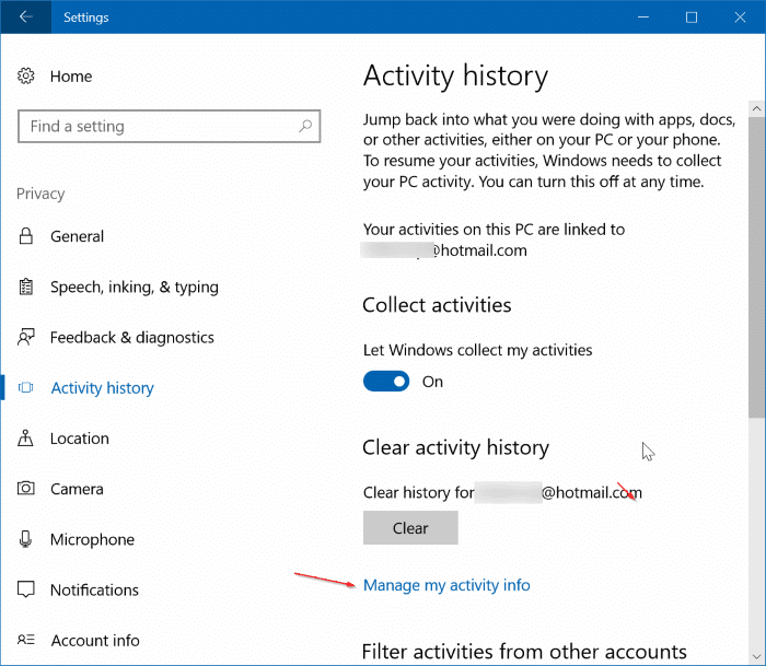 View and clear activity history in Windows (1)