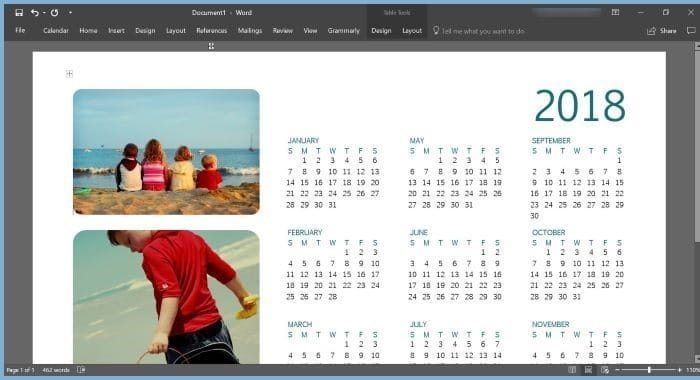 create calendar using Office Word or Excel