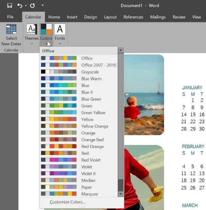 create calendar using Office Word or Excel pic6