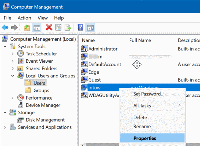 enable or disable user accounts Windows 10