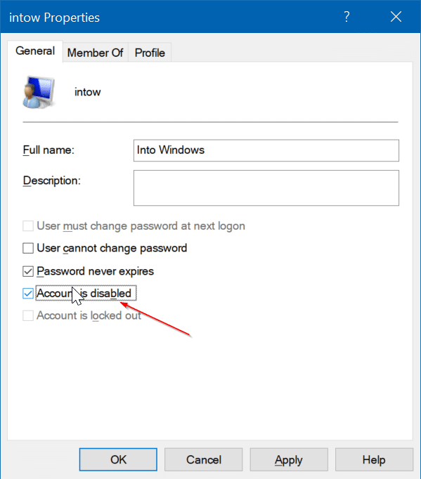 enable or disable user account in Windows 10 pic4