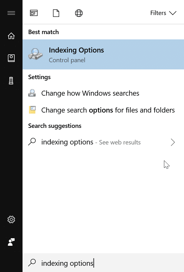 hide certain file types from search results in Windows 10 pic1
