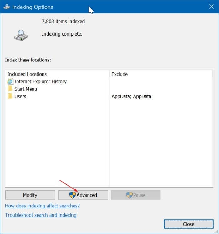 hide certain file types from search results in Windows 10 pic2