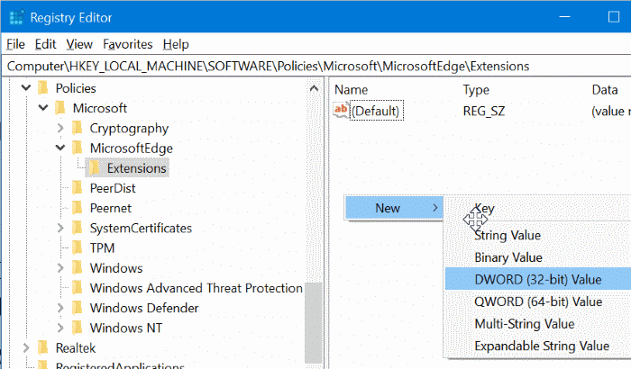 prevent installing extensions in Edge in Windows 10 pic5