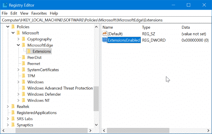 prevent installing extensions in Edge in Windows 10 pic6