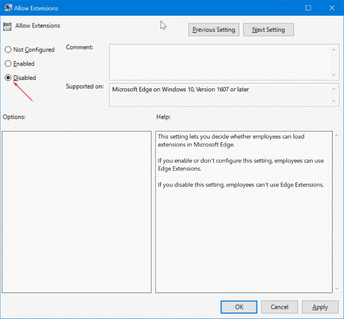 prevent installing extensions in Edge in Windows 10 pic8