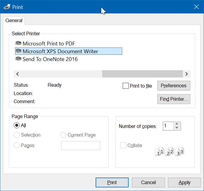remove Microsoft XPS Document Writer from Windows 10 pic01