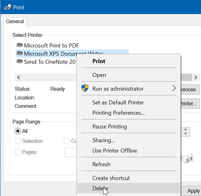 remove Microsoft XPS Document Writer from Windows 10 pic10