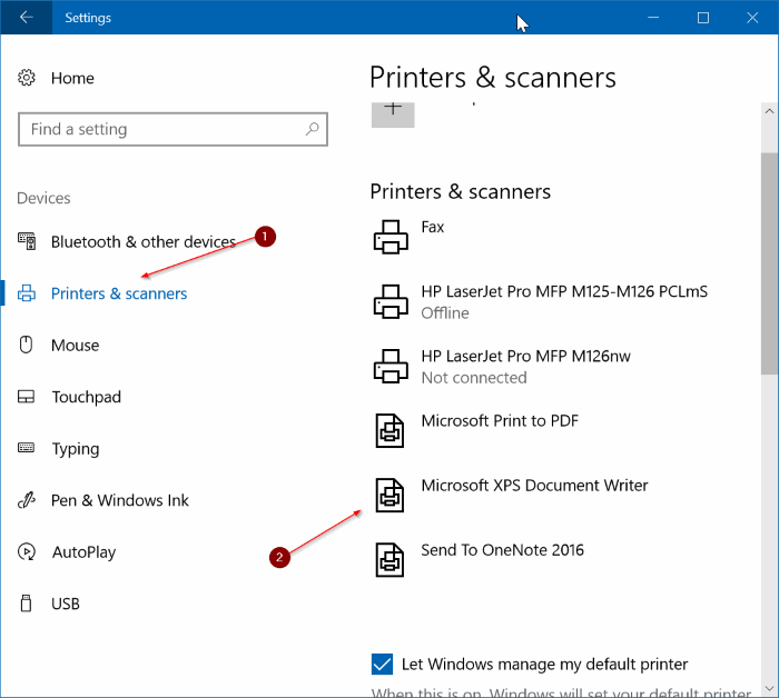 remove Microsoft XPS Document Writer from Windows 10 pic1