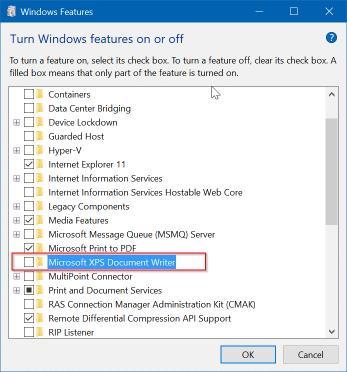 remove Microsoft XPS Document Writer from Windows 10 pic6