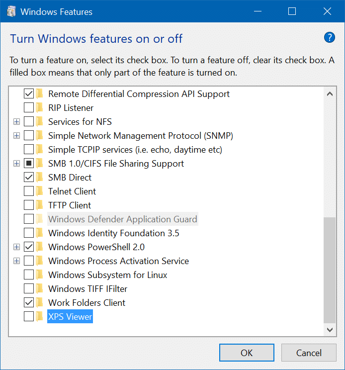 Remove Microsoft XPS Document Writer From Windows 10