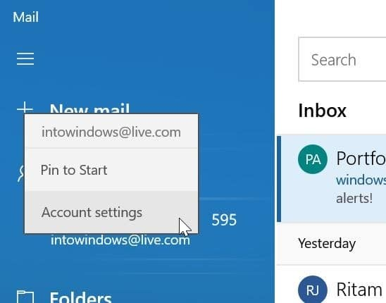 remove an email account from Mail app in Windows 10 pic1
