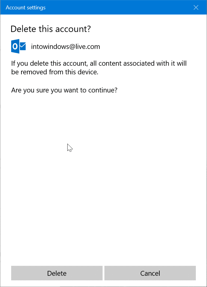 remove an email account from Mail app in Windows 10 pic3