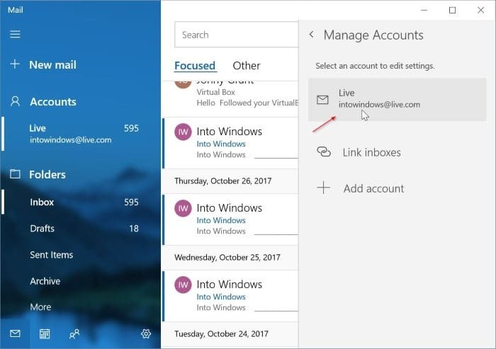 remove an email account from Mail in Windows 10