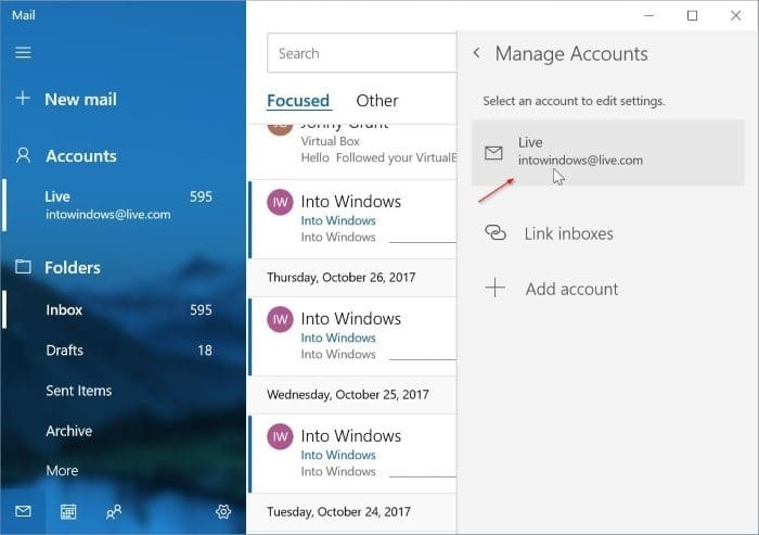 remove an email account from Mail app in Windows 10 pic7