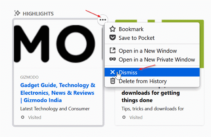 remove highlights from firefox new tab page pic4
