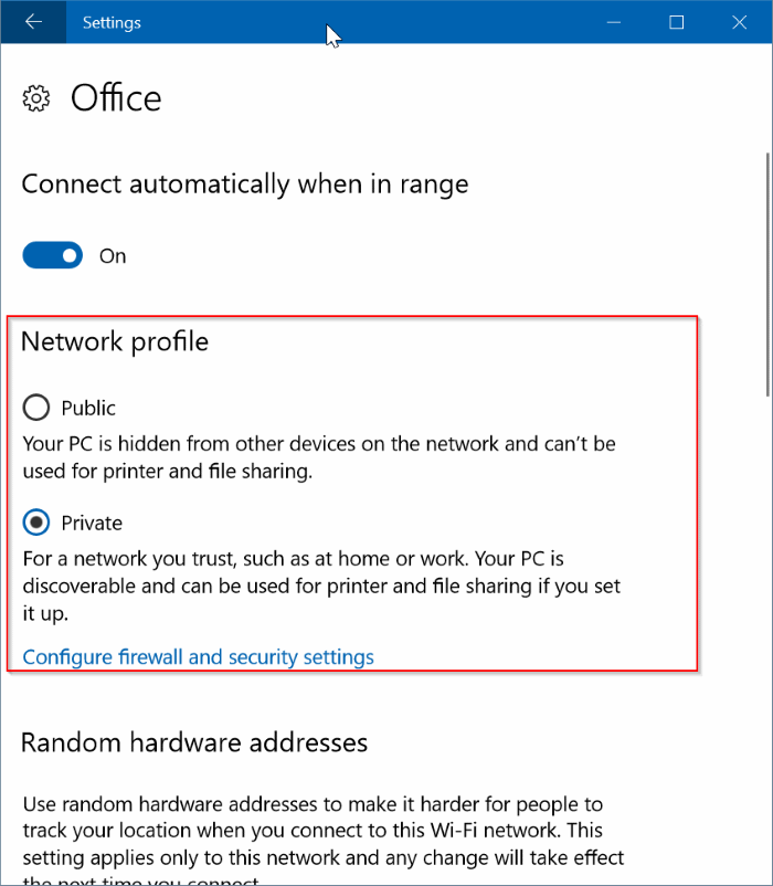 windows 10 change network to private 2017