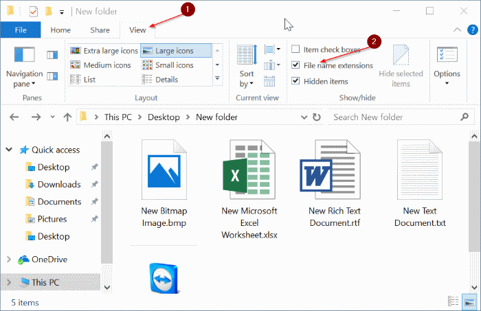 how to change a file extension in windows 10