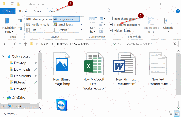 show or hide extensions with file names in Windows 10 file explorer pic2
