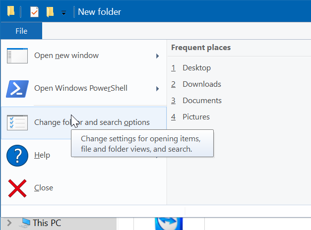 show or hide extensions with file names in Windows 10 file explorer pic3