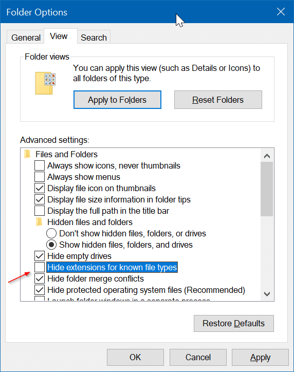 show or hide extensions with file names in Windows 10 file explorer pic4