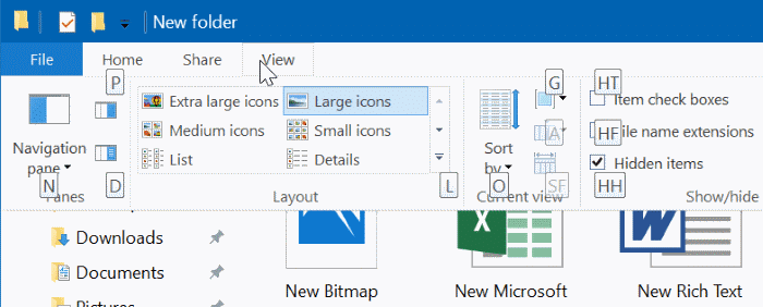 show or hide extensions with file names in Windows 10 file explorer pic5