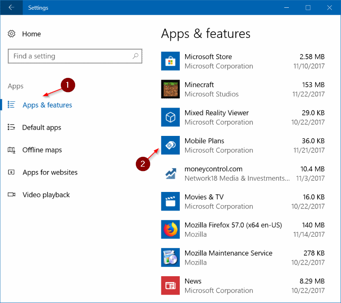uninstall mobile plans app from Windows 10 pic1