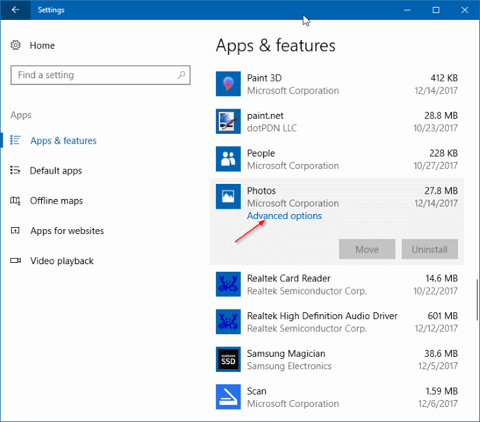 Uninstall app add-ons in Windows 10 pic1