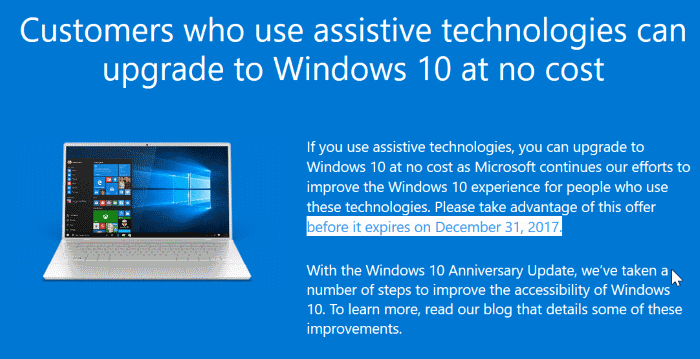 Windows 10 is not free from Jan 1st, 2018
