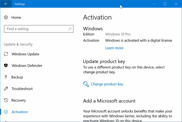 activate windows 10 after HDD or SSD replacement