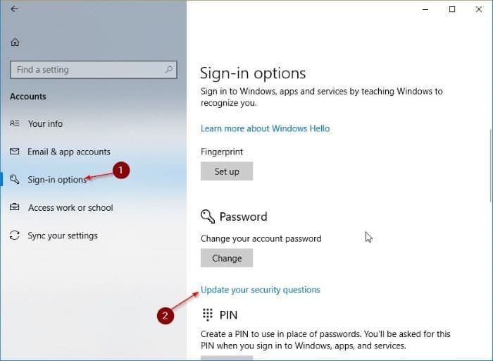 add security questions to local user accounts in Windows 10 pic1