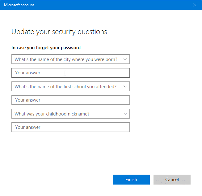 Add security questions to local user accounts in Windows 10