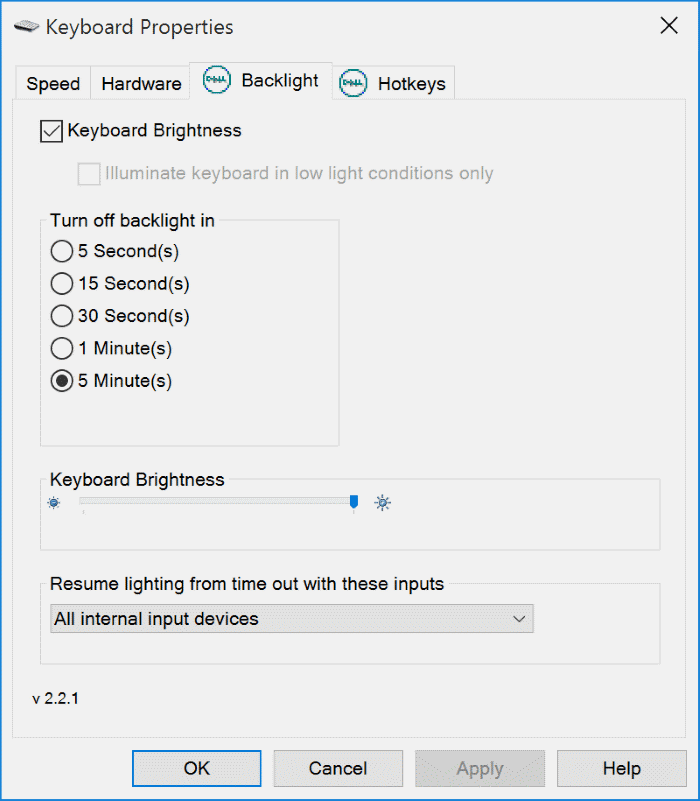 adjust backlit keyboard brightness in Windows 10 pic1
