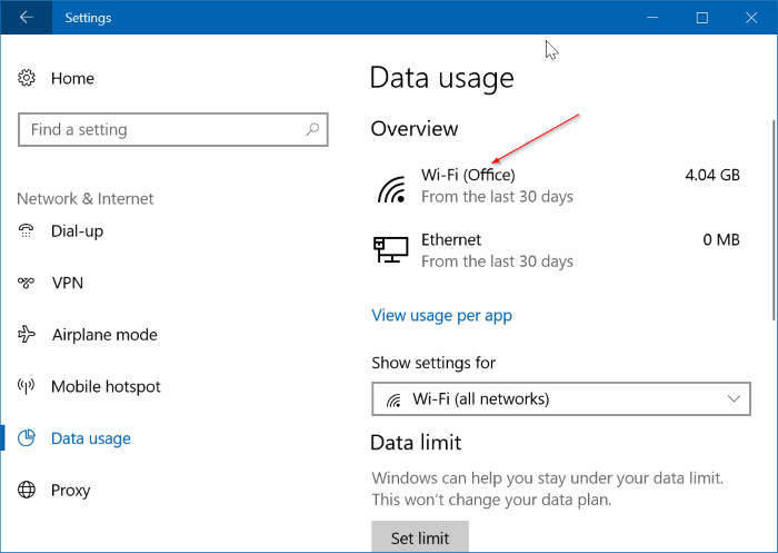 check data usage for specific networks in Windows 10 pic1