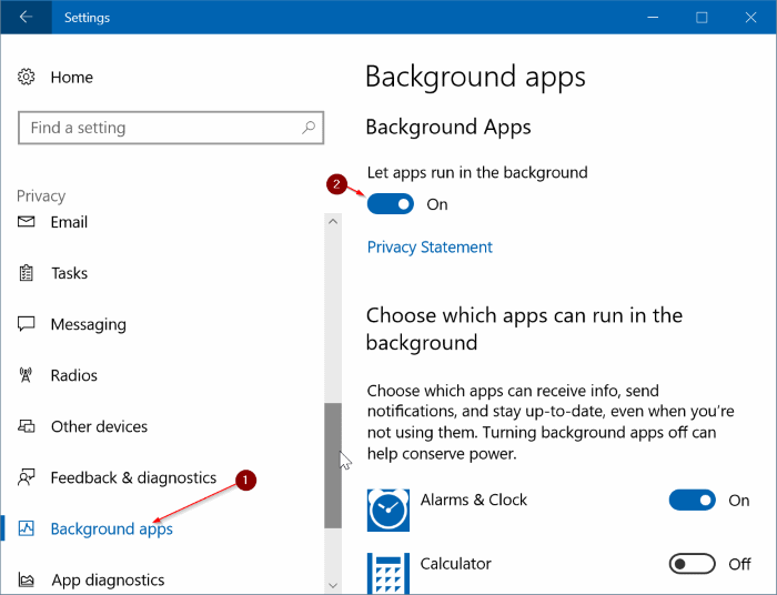 prevent apps from running in background in Windows 10 pic1