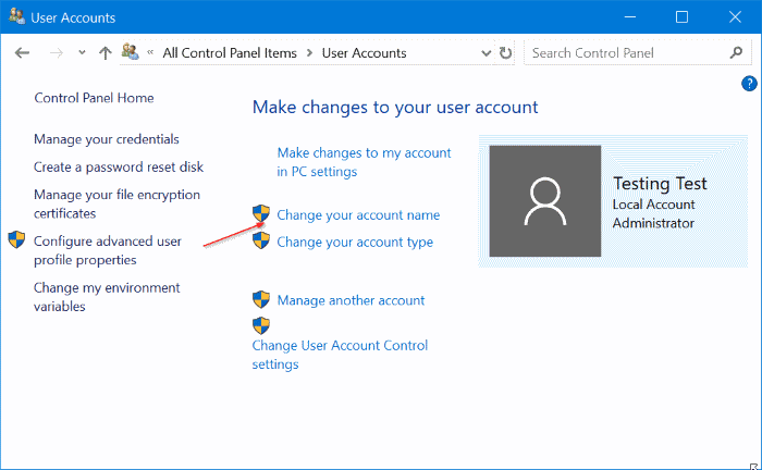 rename users accounts in Windows 10 pic7