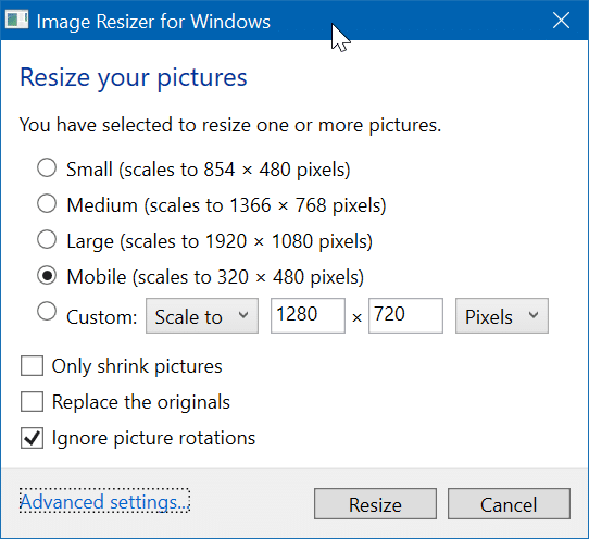 resize images from context menu in Windows 10 pic2