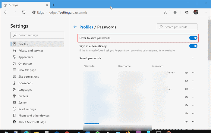 save passwords in Edge browser in Windows 10