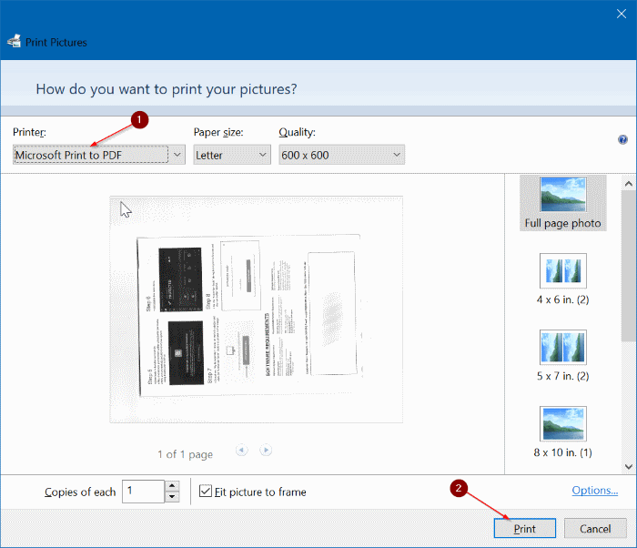 save scanned documents and pictures as PDF in Windows 10