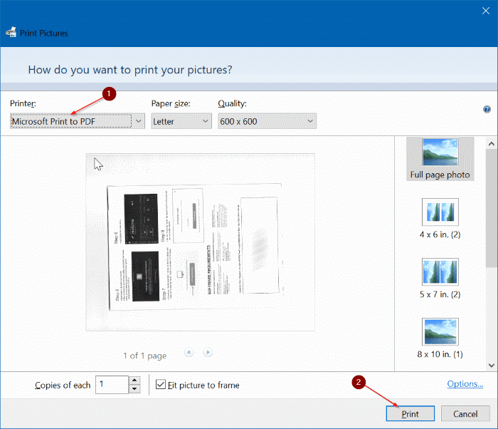 save scanned documents and pictures as PDF in Windows 10 pic04