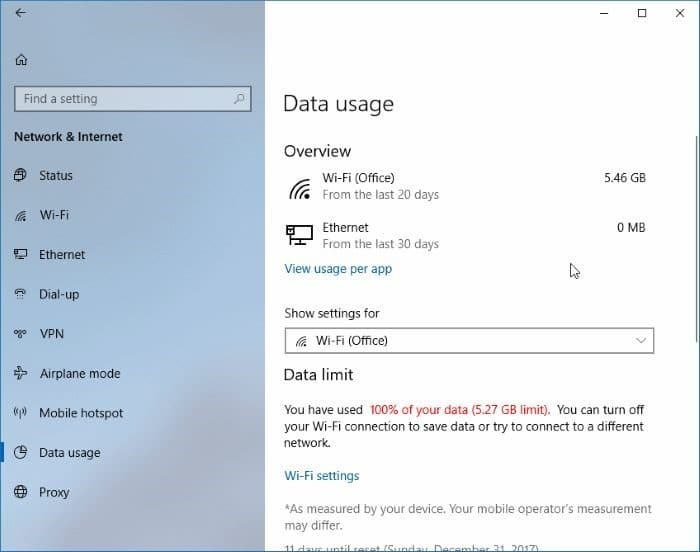 set data limit for WiFi networks in Windows 10 pic06