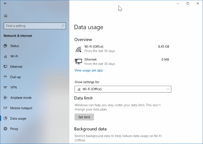 set data limit for WiFi networks in Windows 10 pic1
