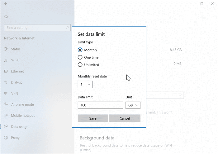 set data limit for WiFi networks in Windows 10 pic2