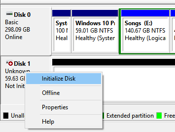 Disk Not initialized in Windows 10 pic1