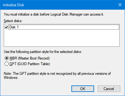 Disk Not initialized in Windows 10 pic2