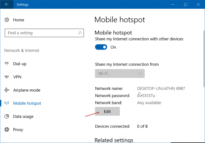 change mobile hotsport name and password in Windows 10 pic2