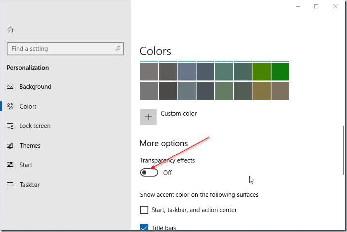 disable fluent design in Windows 10 pic5