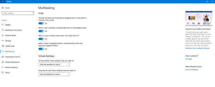 disable videos in the settings app in windows 10